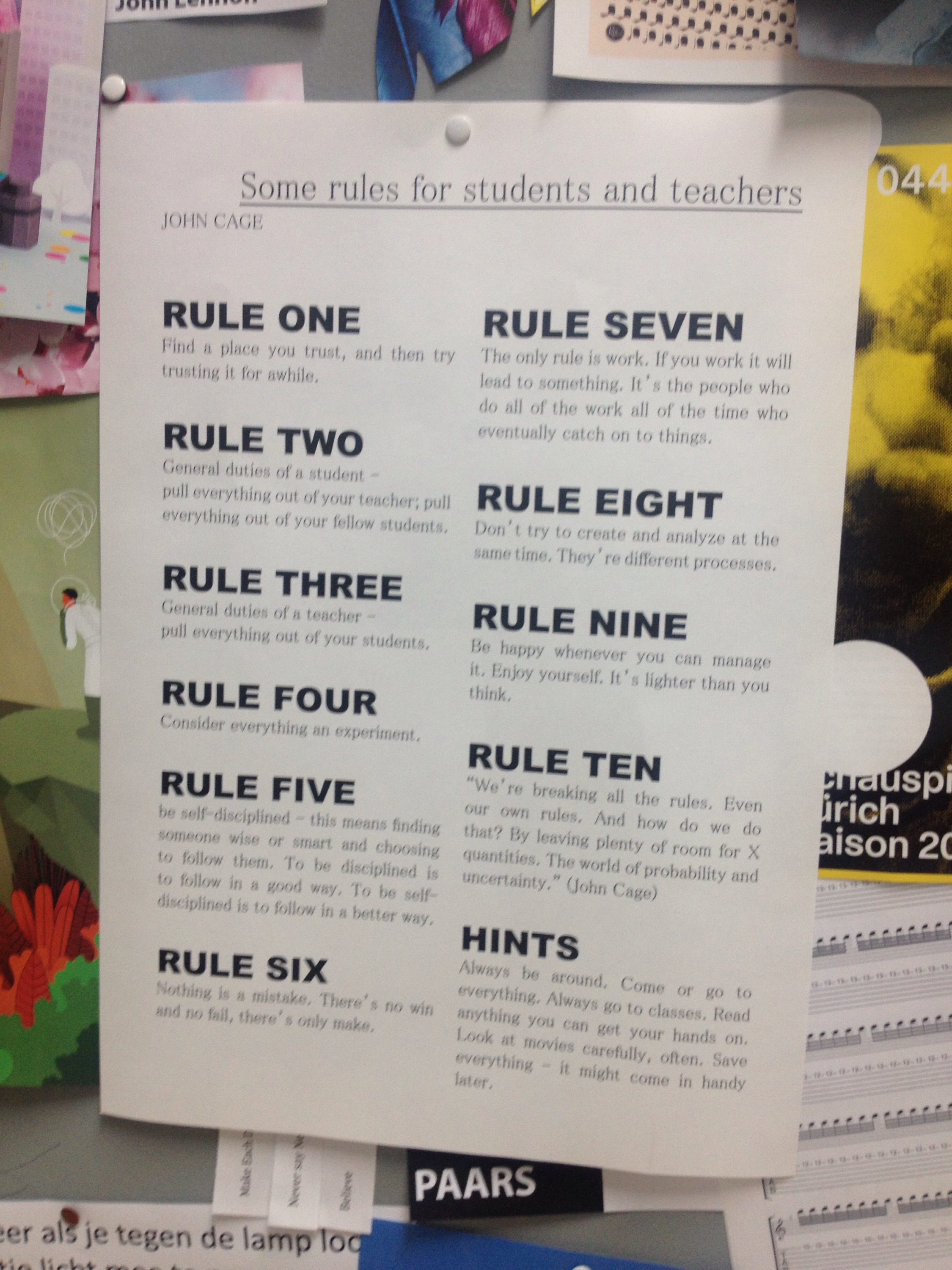 The ten rules by John Cage